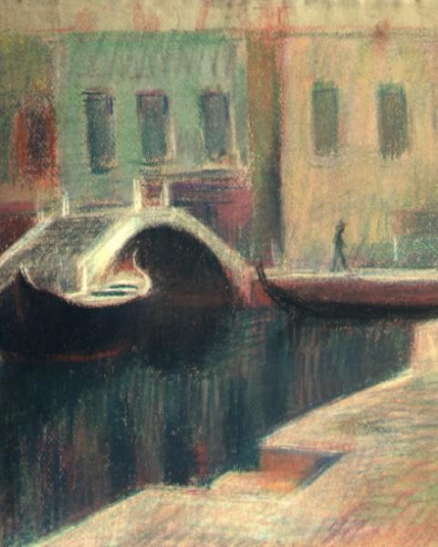 Venezia: case, ponti e barcone graphic