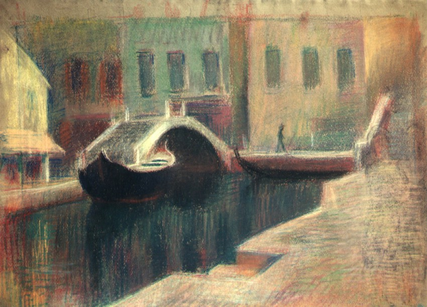 Venice: Houses, bridges, and a barge graphic
