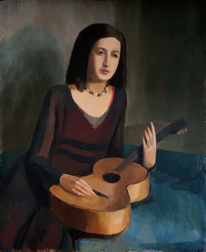 <i></noscript>Young lady with a guitar,</i> 1929. Oil on wood, 90 x 74 cm