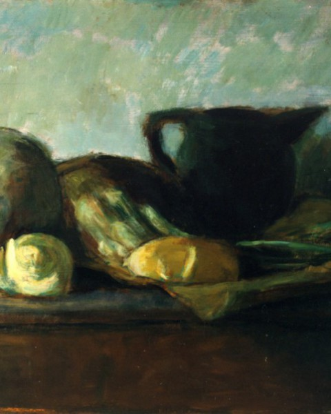 Verdure, pane, bricco e bicchiere graphic