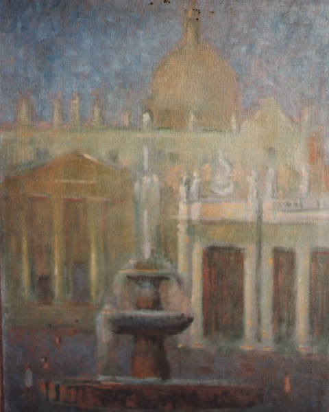Piazza San Pietro con la fontana graphic