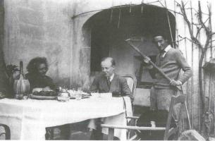 Fig. 7: Maja Einstein, Fritz Rougemont e Paul Winteler a 'Samos'